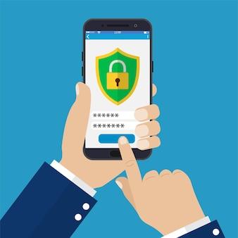Aplicación de seguridad móvil en la pantalla del teléfono inteligente