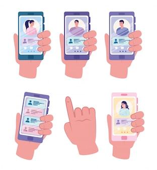 Aplicación de servicio de citas en línea, manos que sostienen el teléfono inteligente con perfiles de hombre y mujer, personas modernas que buscan pareja, redes sociales, comunicación de relación virtual