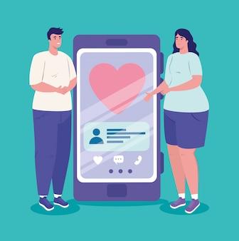 Aplicación de servicio de citas en línea, teléfono inteligente con corazón y pareja, personas modernas que buscan pareja, redes sociales, concepto de comunicación de relación virtual