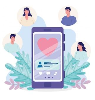 Aplicación de servicio de citas en línea, teléfono inteligente con corazón, personas modernas que buscan pareja, redes sociales, concepto de comunicación de relación virtual