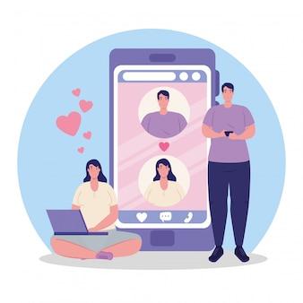 Aplicación de servicio de citas en línea, teléfono inteligente con perfiles de hombre y mujer, hombre con teléfono inteligente y mujer con computadora portátil, personas modernas que buscan pareja