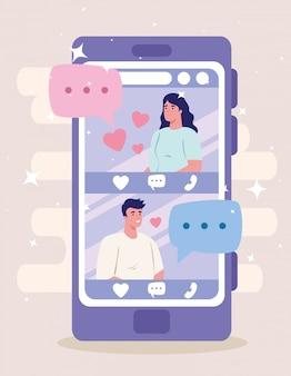 Aplicación de servicio de citas en línea, teléfono inteligente con perfiles de hombre y mujer, personas modernas que buscan pareja, redes sociales, concepto de comunicación de relación virtual