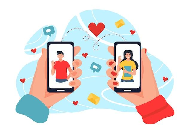 Aplicación de servicio de citas, mano sosteniendo teléfonos inteligentes con foto de hombre. relaciones virtuales, conocido en una red social. ilustración en estilo plano de dibujos animados