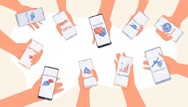 Aplicación de servicio de compras de banca móvil en línea
