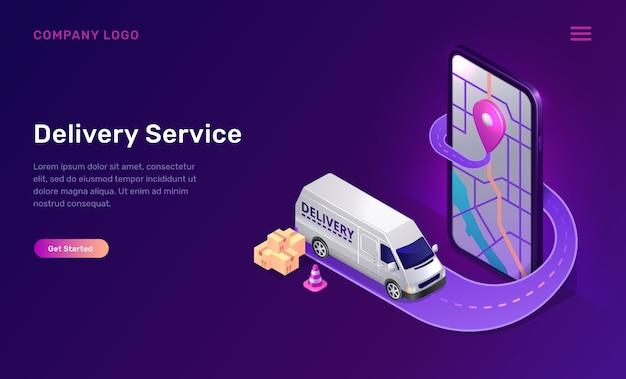 Aplicación de servicio de entrega móvil en línea isométrica