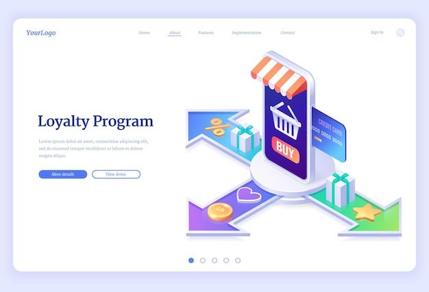 Aplicación de servicio de página de destino isométrica del programa de fidelización para compras en línea.