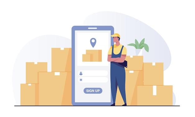 Aplicación de sistema de gestión de almacén inteligente. los empleados inician sesión en su teléfono con la aplicación de control de almacén.