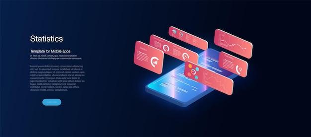 Aplicación de smartphone con gráfico de negocio y datos analíticos en teléfono móvil isométrico. ilustración de vector plano isométrico. pantalla de pago electrónico