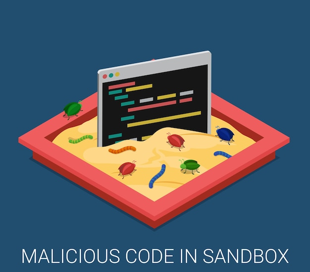 Aplicación de software malicioso desarrollo de código sandbox depuración isométrica plana