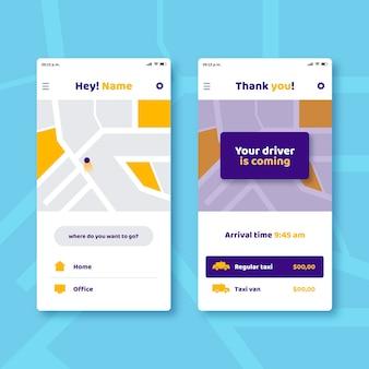 Aplicación de taxi en calles de teléfonos inteligentes
