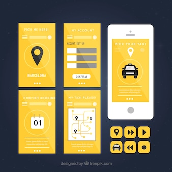 Aplicación de taxi con capturas de pantalla
