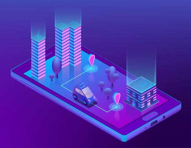 Aplicación de taxi inteligente isométrica para teléfono inteligente