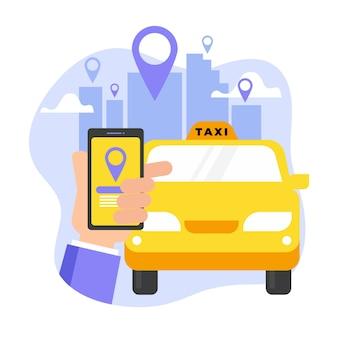 Aplicación de taxi y mano con teléfono inteligente
