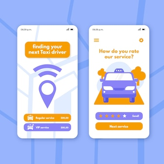 Aplicación de taxi en la ubicación de compartir teléfono inteligente