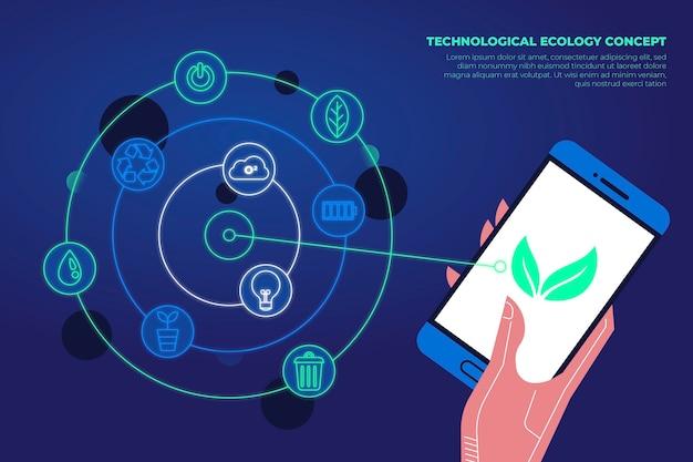Aplicación de teléfono inteligente para el concepto de ecología