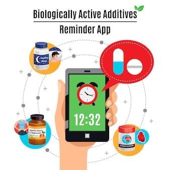 Aplicación de teléfono inteligente recordatorio de tiempo sobre ilustración de terapia de aditivos activos biológicos