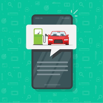 Aplicación de teléfono móvil con automóvil de repostaje de gasolina en el aviso de información de la gasolinera