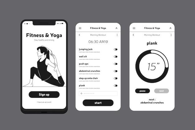 Aplicación de teléfono móvil de fitness y yoga