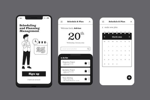 Aplicación de teléfono móvil de gestión de planificación