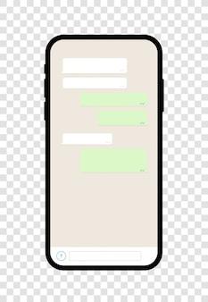 Aplicación de teléfono móvil con pantalla de chat con emoticones