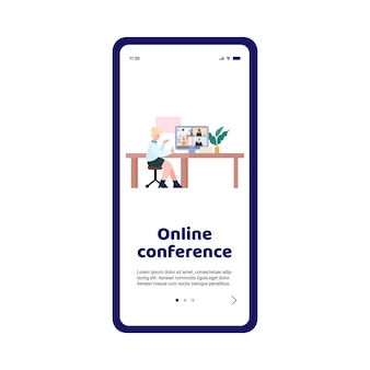 Aplicación de teléfono móvil para seminarios web de videoconferencia o educación en línea en casa