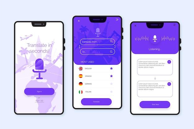 Aplicación de traductor de voz Vector Premium