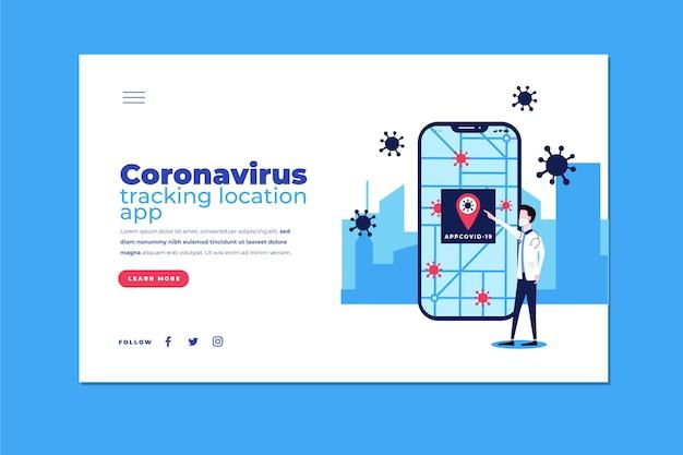 Aplicación de ubicación de seguimiento de coronavirus - página de destino