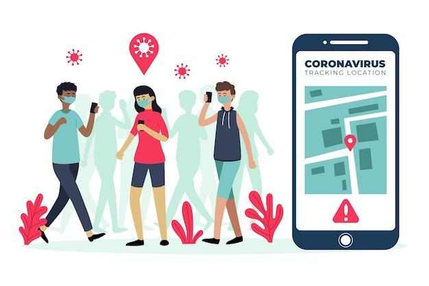 Aplicación de ubicación de seguimiento de coronavirus