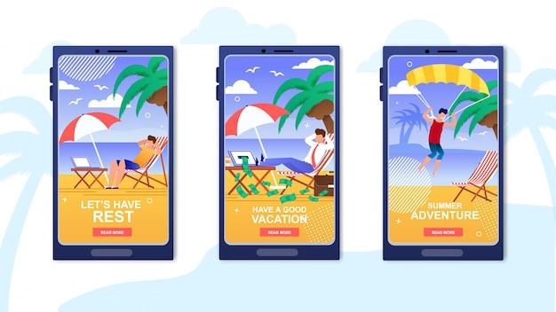 Aplicación de vacaciones de verano cubiertas móviles conjunto.