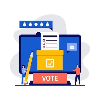 Aplicación de votación en línea, votación electrónica, conceptos de sistema de elección por internet con personajes.
