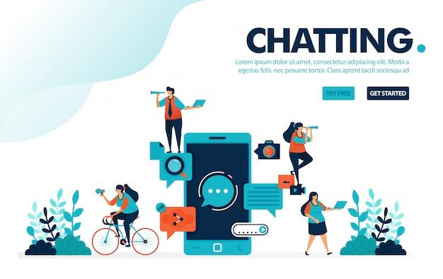 Aplicaciones de chat, personas que chatean con aplicaciones móviles para comunicarse y enviar mensajes.