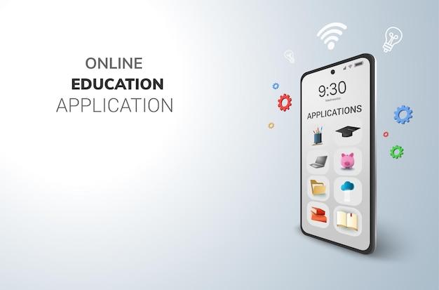 Aplicaciones digitales en línea para el concepto de educación y espacio en blanco en el teléfono