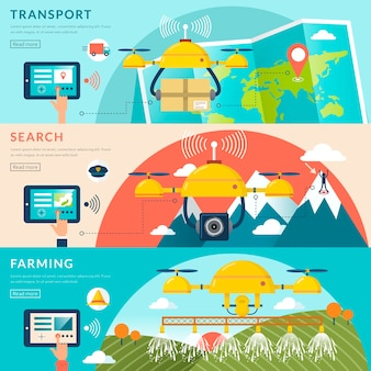 Aplicaciones de drones en diferentes campos en diseño plano
