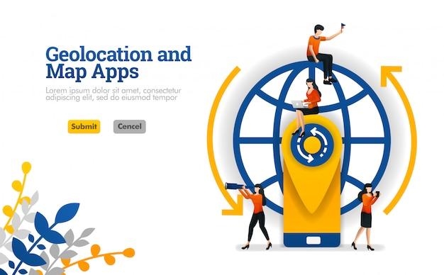 Aplicaciones de geolocation y maps para viajes, vacaciones y viajes concepto de ilustración vectorial