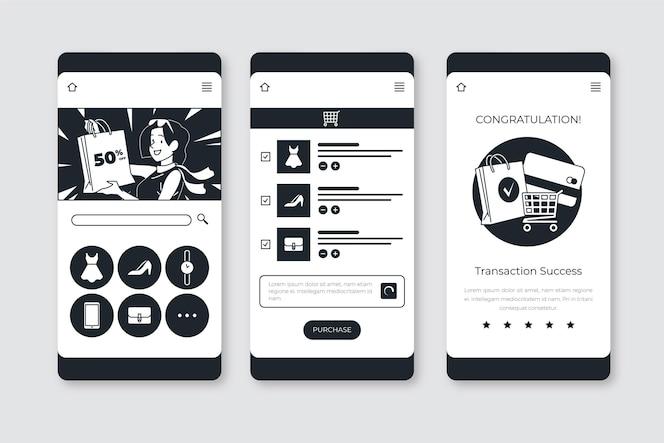 Aplicaciones incoloras dibujadas a mano en diseño plano