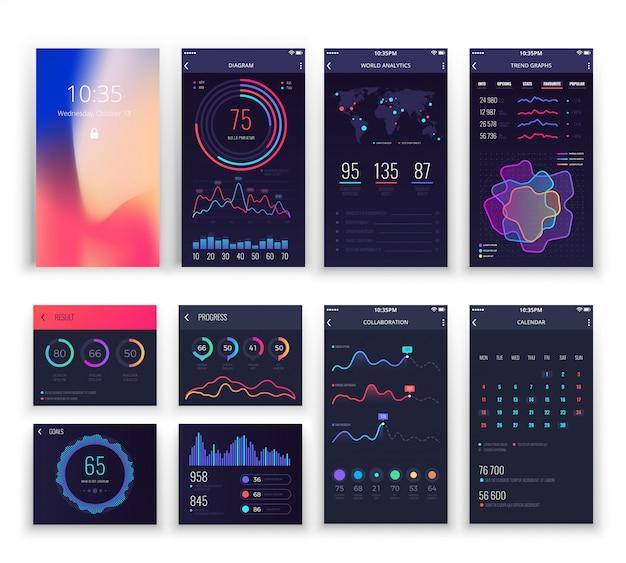 Aplicaciones de interfaz de usuario de aplicaciones móviles y plantillas de ux para teléfonos inteligentes con gráficos y diagramas.