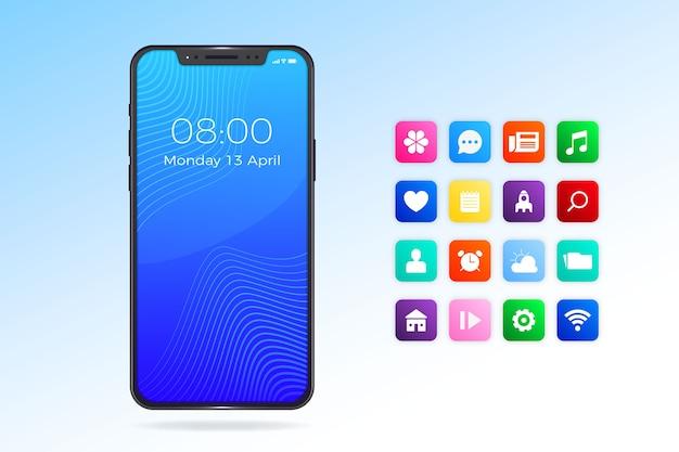 Aplicaciones de iphone 11 y diseño realista del teléfono