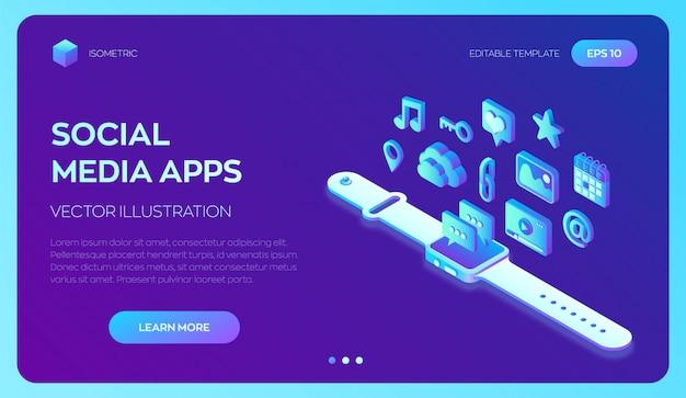 Aplicaciones isométricas 3d de redes sociales en un reloj inteligente. aplicaciones móviles.