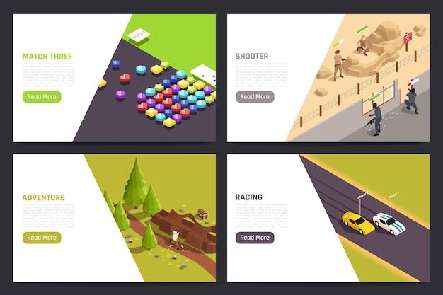 Aplicaciones de juegos móviles 4 pantallas de tableta de pc isométricas con formas de juego de disparos de aventuras de carreras de coches ilustración
