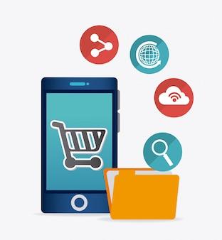 Aplicaciones móviles y diseño de iconos tecnológicos.
