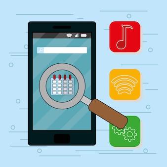Aplicaciones móviles de teléfonos inteligentes con lupa