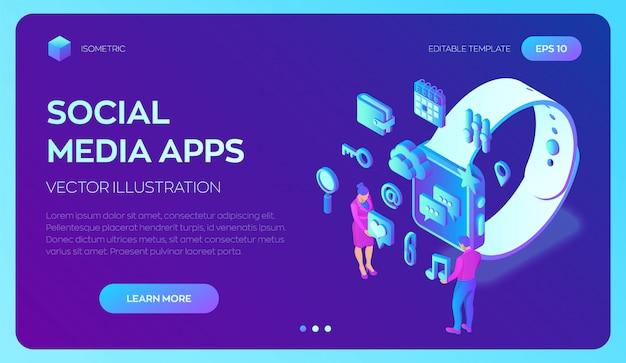 Aplicaciones de redes sociales en un reloj inteligente. aplicaciones móviles isométricas en 3d. plantilla de infografía con personajes e iconos.