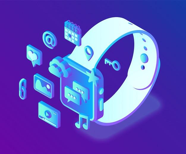 Aplicaciones de redes sociales en un reloj inteligente. redes sociales 3d iconos isométricos. aplicaciones móviles.