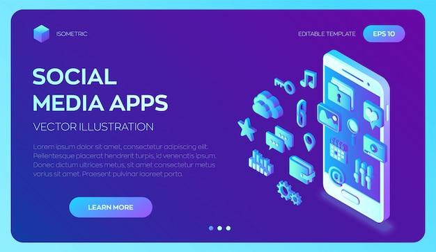 Aplicaciones de redes sociales en un teléfono inteligente. aplicaciones móviles isométricas en 3d.