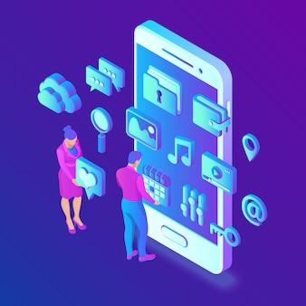 Aplicaciones de redes sociales en un teléfono inteligente. redes sociales 3d isométrico.