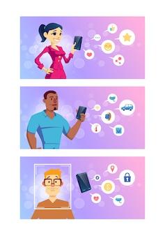 Aplicaciones de teléfonos inteligentes para redes sociales, tecnologías inteligentes, banca en línea y dibujos animados de navegación