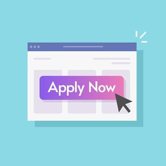 Aplicar ahora, haga clic en el botón en línea en la página del sitio web de internet con la flecha del puntero del cursor, diseño de ilustración moderna, imagen aislada