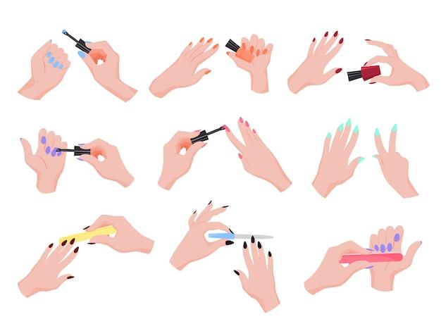 Aplicar esmalte de uñas a mano. colección de manicura para hacer a mano