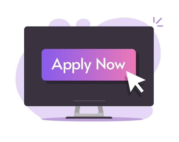 Aplique ahora el botón digital en línea en la pantalla de la computadora con el puntero del cursor, mouse, flecha, diseño, ilustración, imagen