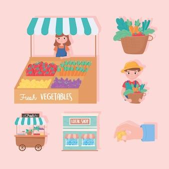 Apoyar a las pequeñas empresas, los agricultores locales de la tienda verduras frescas iconos ilustración